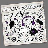 Doodle hand-drawn music symbols with alphabet