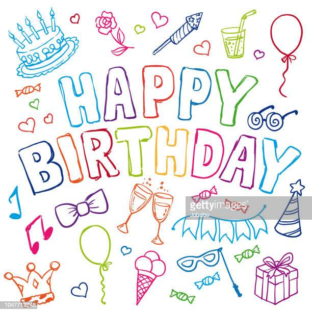 doodle happy birthday party objects - happy birthday stock illustrations
