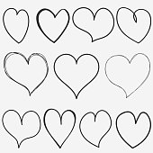 Doodle Hearts collection for for Valentine. Hand drawn Black Heart set. vector