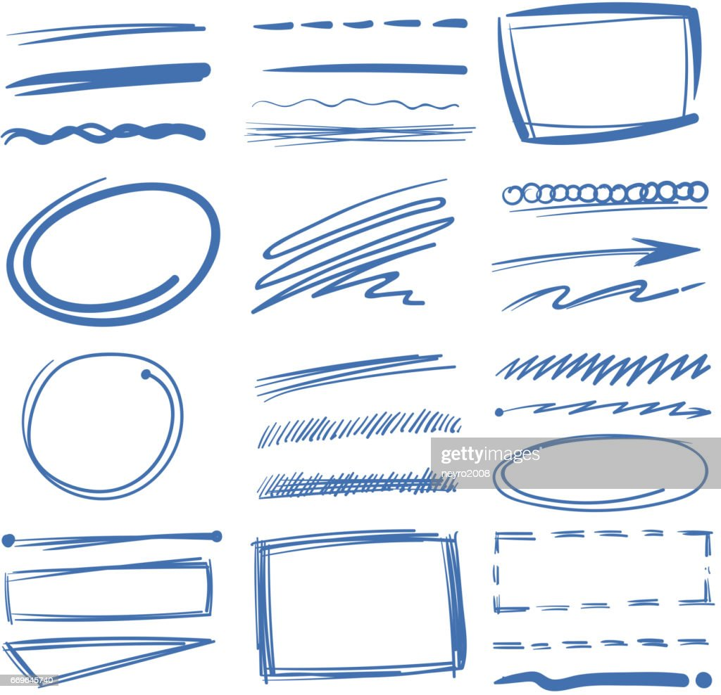 Doodle highlighter vector elements, sketch circles, hand drawn underline, pencil marks