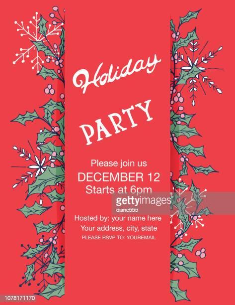 doodle urlaub evergreens holiday party vorlage - kieferngewächse stock-grafiken, -clipart, -cartoons und -symbole