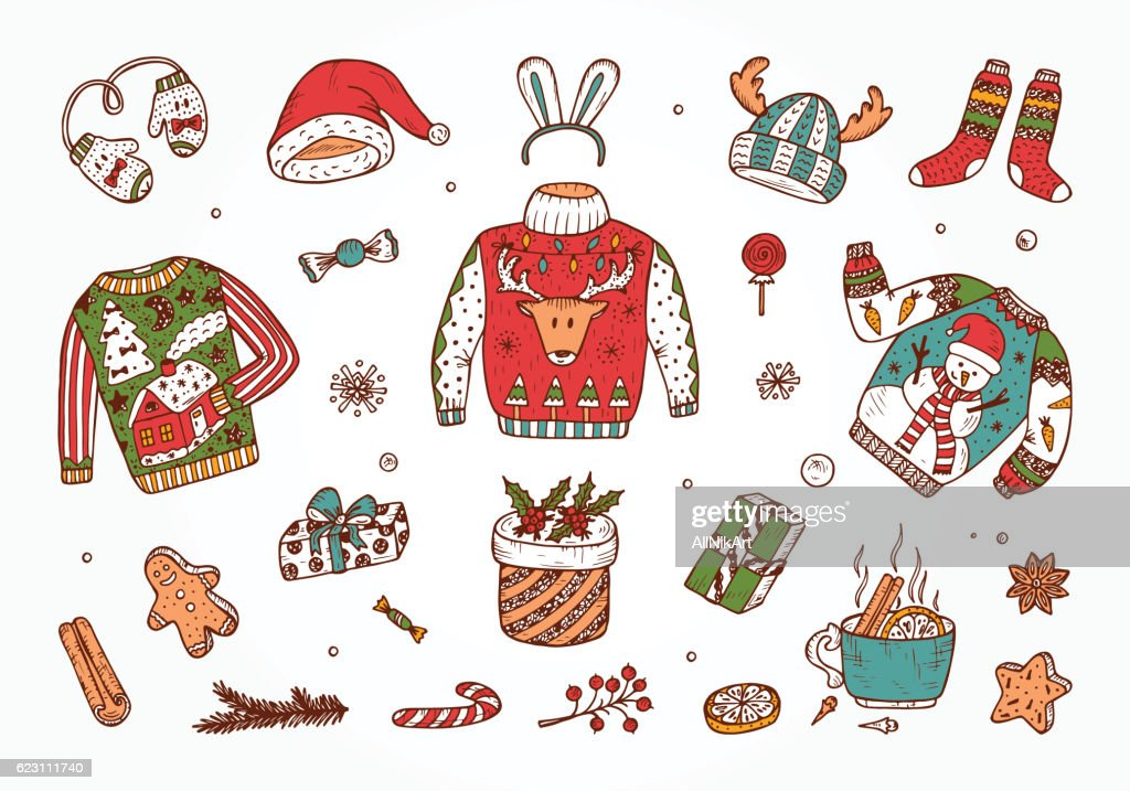 Doodle Holiday set. Ugly Christmas Sweater Party. Vector Xmas elements