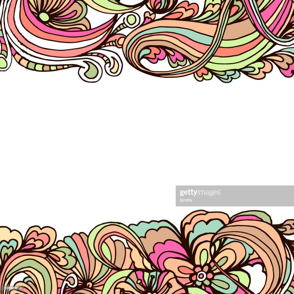 Doodle horizontal ornamental frame for banner design.