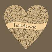 Doodle illustration of handmade wicker heart