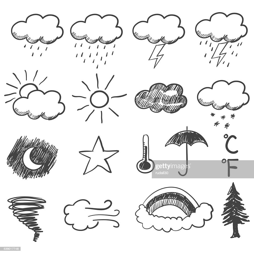 Doodle Illustration Of Weather Icons