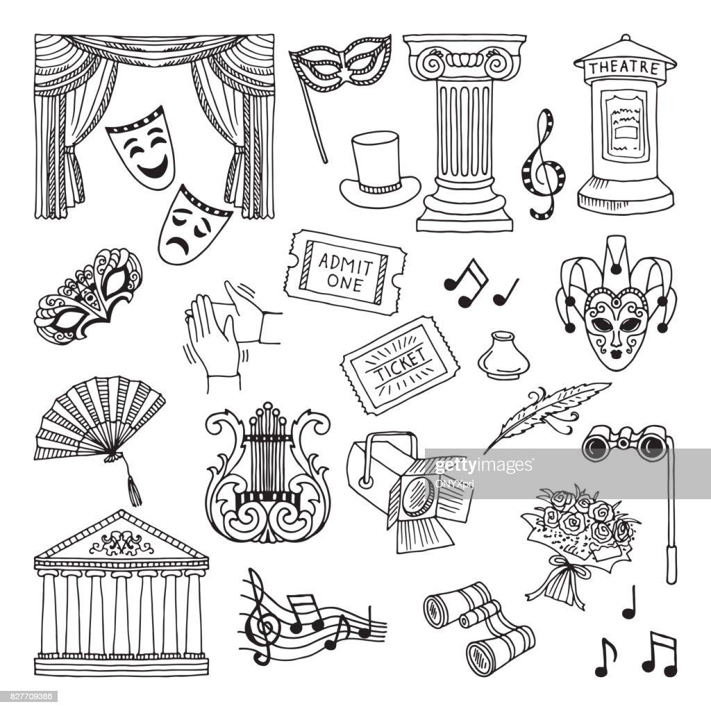 Doodle illustration set of theatre symbols. Lira, binoculars, masks. Opera vector icons