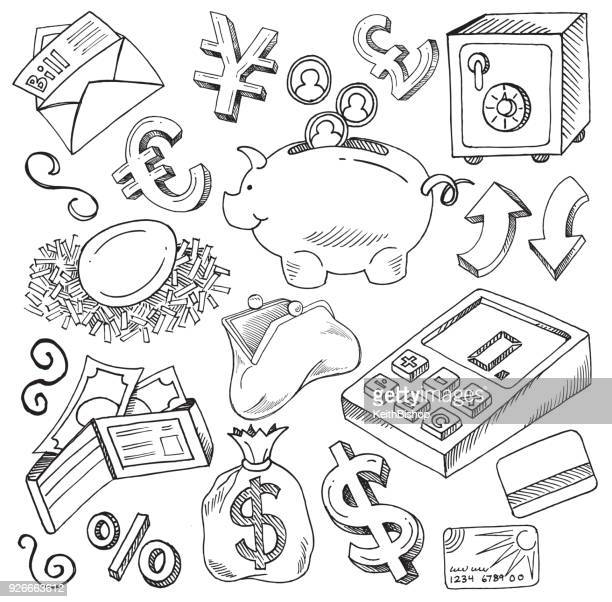 Doodle illustrations of Money, Financial Concept