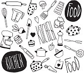 Doodle kitchen icons - Illustration