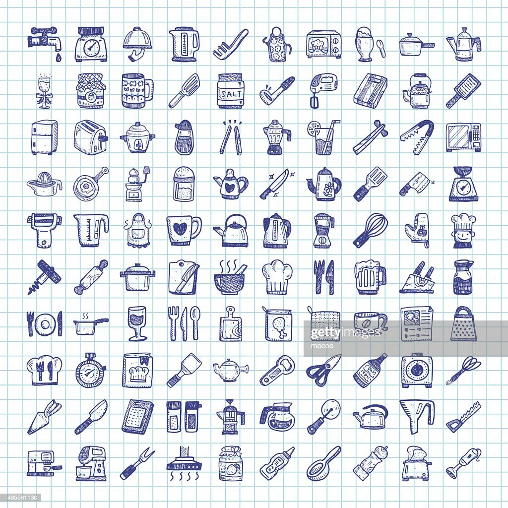 Doodle kitchen icons stock vector