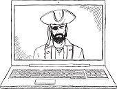 doodle laptop pirate