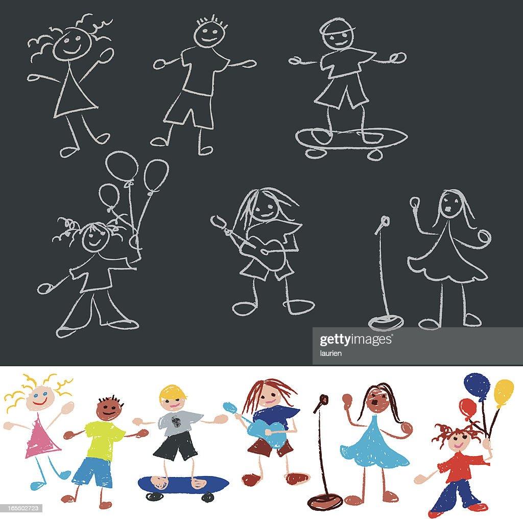 Doodle line stick figure kids.
