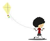Doodle little boy playing kites