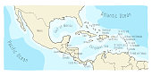 Doodle Map of Central America and Mexico