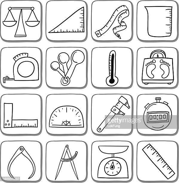 Griffonnage mesure Ensemble d'icônes en noir et blanc