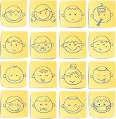 Doodle memo icon set - facial expression