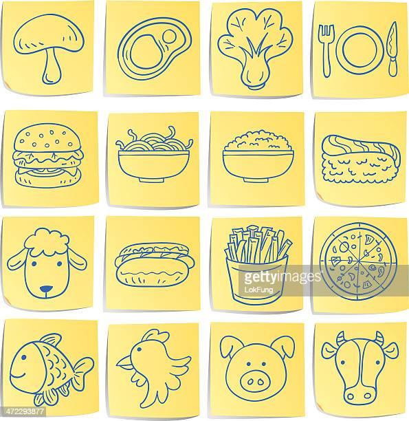 Doodle memo icon set - food