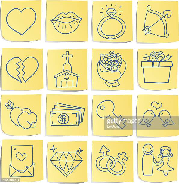 doodle memo icon set - love and romance - love letter stock illustrations, clip art, cartoons, & icons