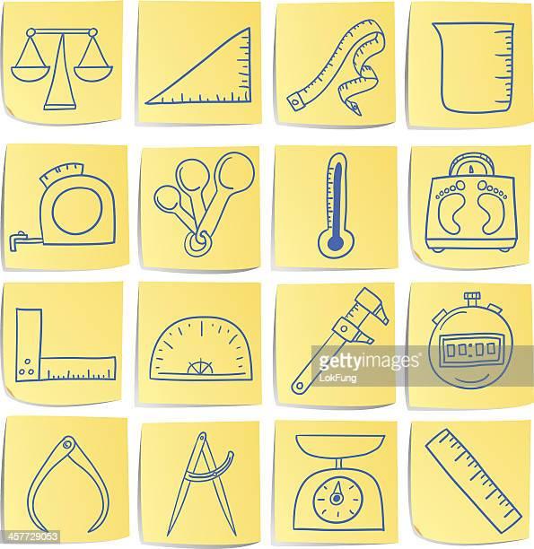 Doodle memo icon set - Measurement