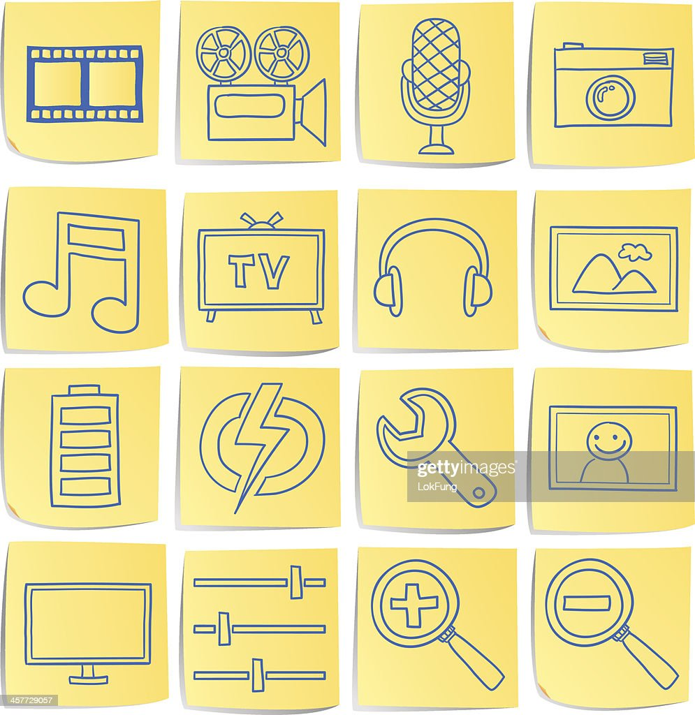 Doodle memo icon set - Multi media : stock illustration