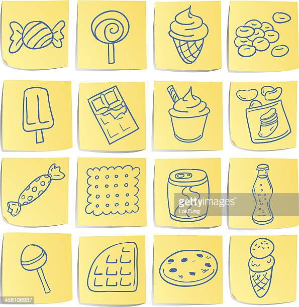 doodle memo icon set - snacks - cracker snack stock illustrations, clip art, cartoons, & icons