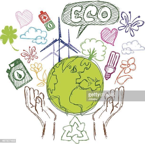 落書き自然保護 - 環境問題点のイラスト素材/クリップアート素材/マンガ素材/アイコン素材