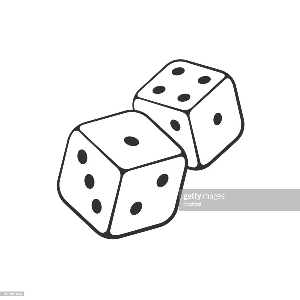 Doodle of two white dice with contour