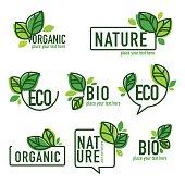 doodle organic leaves emblems