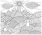 Doodle pattern in black, white. Landscape Pattern for coloring book.