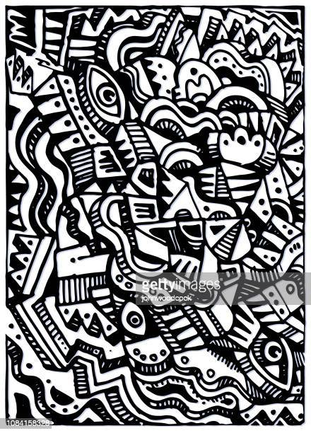illustrations, cliparts, dessins animés et icônes de modèle de doodle - cubisme