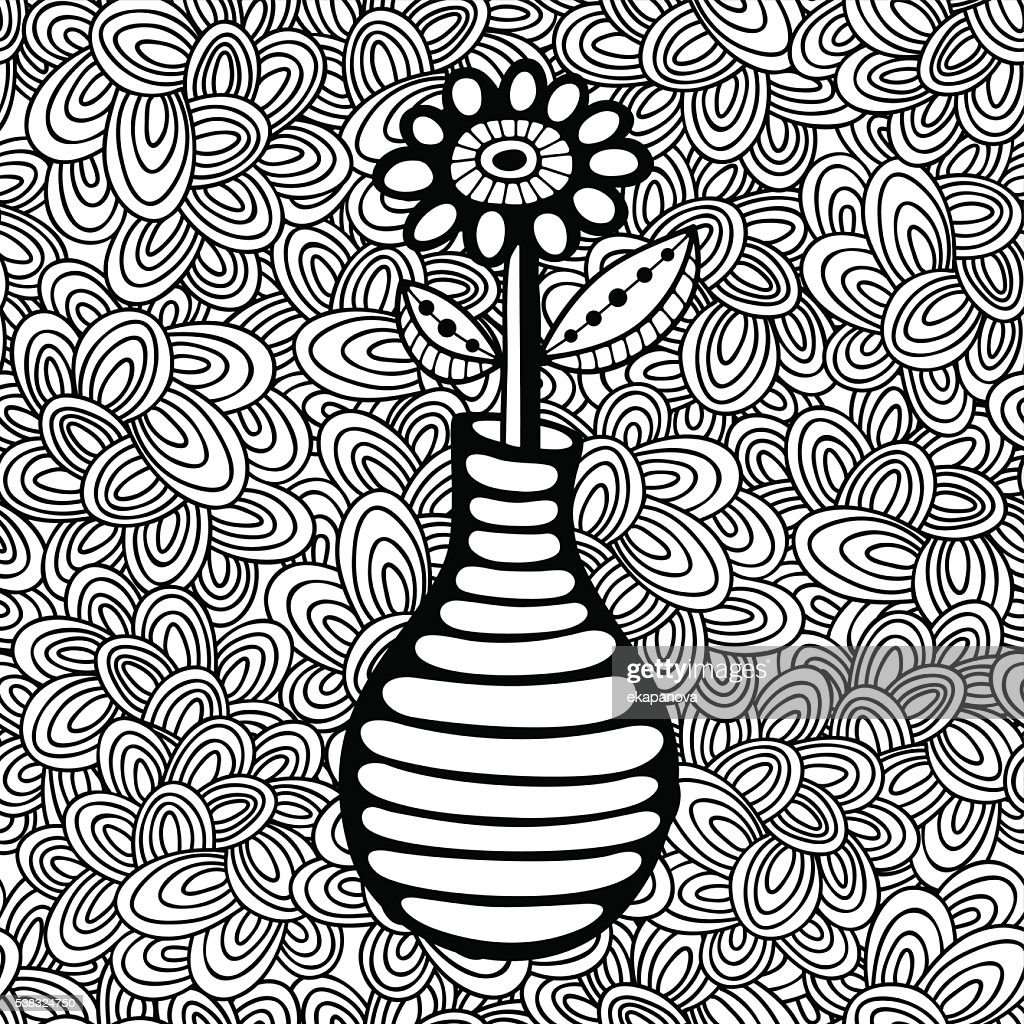 Doodle pattern with black and white flower image for coloring.