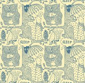 doodle pattern with forest animals