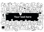 Doodle People Frame. Funny Banner for Your Design