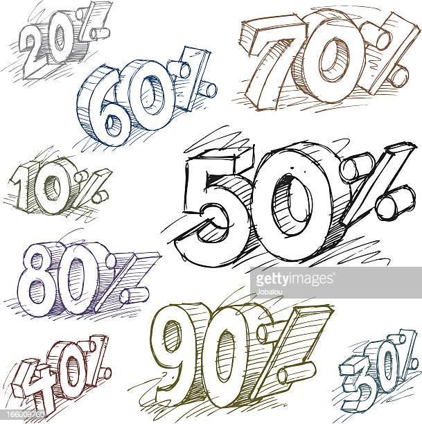 落書きパーセント割引タグ - 数字の90点のイラスト素材/クリップアート素材/マンガ素材/アイコン素材