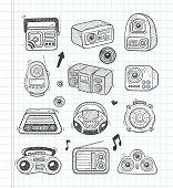 doodle radio icons