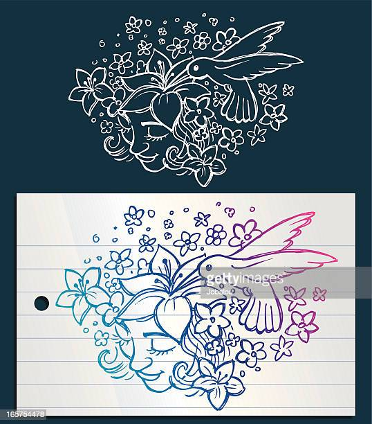 doodle rêverie - hummingbird stock illustrations, clip art, cartoons, & icons