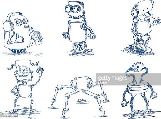 doodle robots - robot stock illustrations