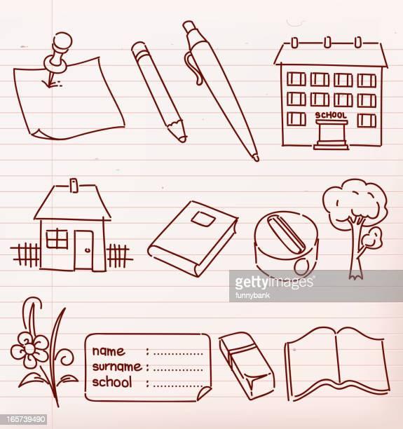 ilustraciones, imágenes clip art, dibujos animados e iconos de stock de escuela garabatos materiales - edificio de escuela primaria