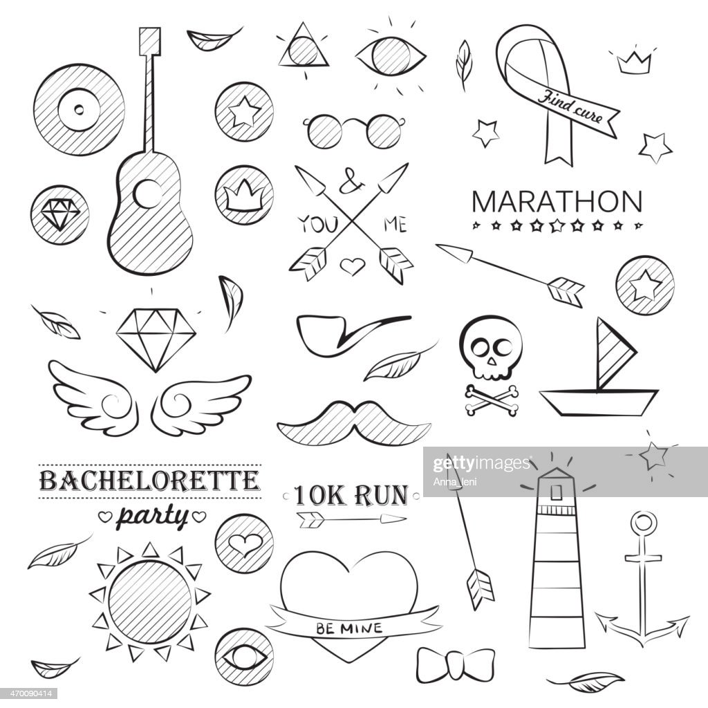 Doodle Sea Hand Drawn Objects Set
