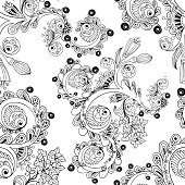 Doodle seamless background with doodles, flowers and paisley.