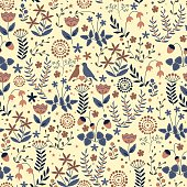 Doodle seamless floral pattern with flowers and birds