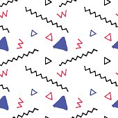 Doodle seamless pattern in nautical palette. Vector pattern in nautical colors.