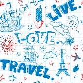 Doodle seamless pattern. Live. Love. Travel.