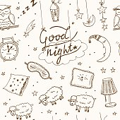Doodle seamless pattern with images about good night