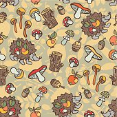 Doodle seamless pattern.Hedgehog,mushrooms, wood