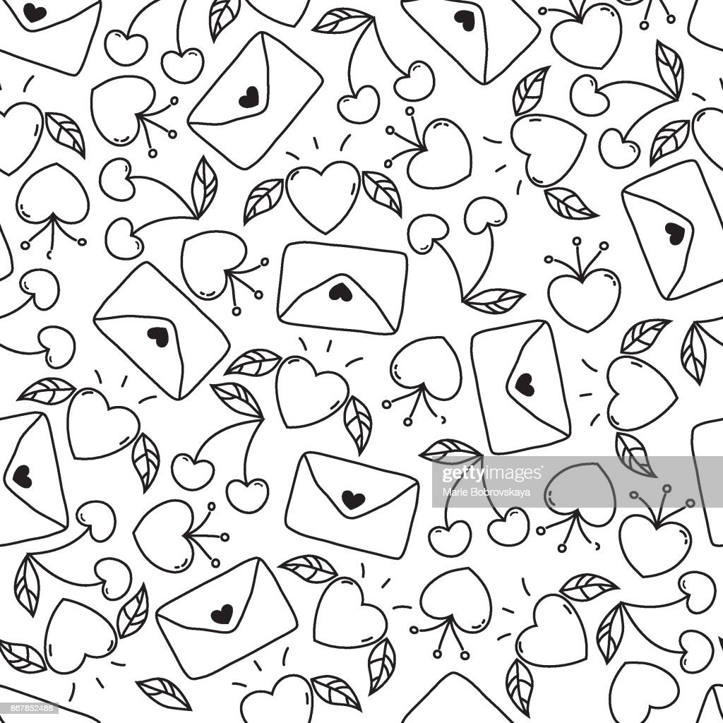Doodle seamless Valentine's day pattern isolated on white background. vector elements: hearts,leaves,cherry,envelopes.