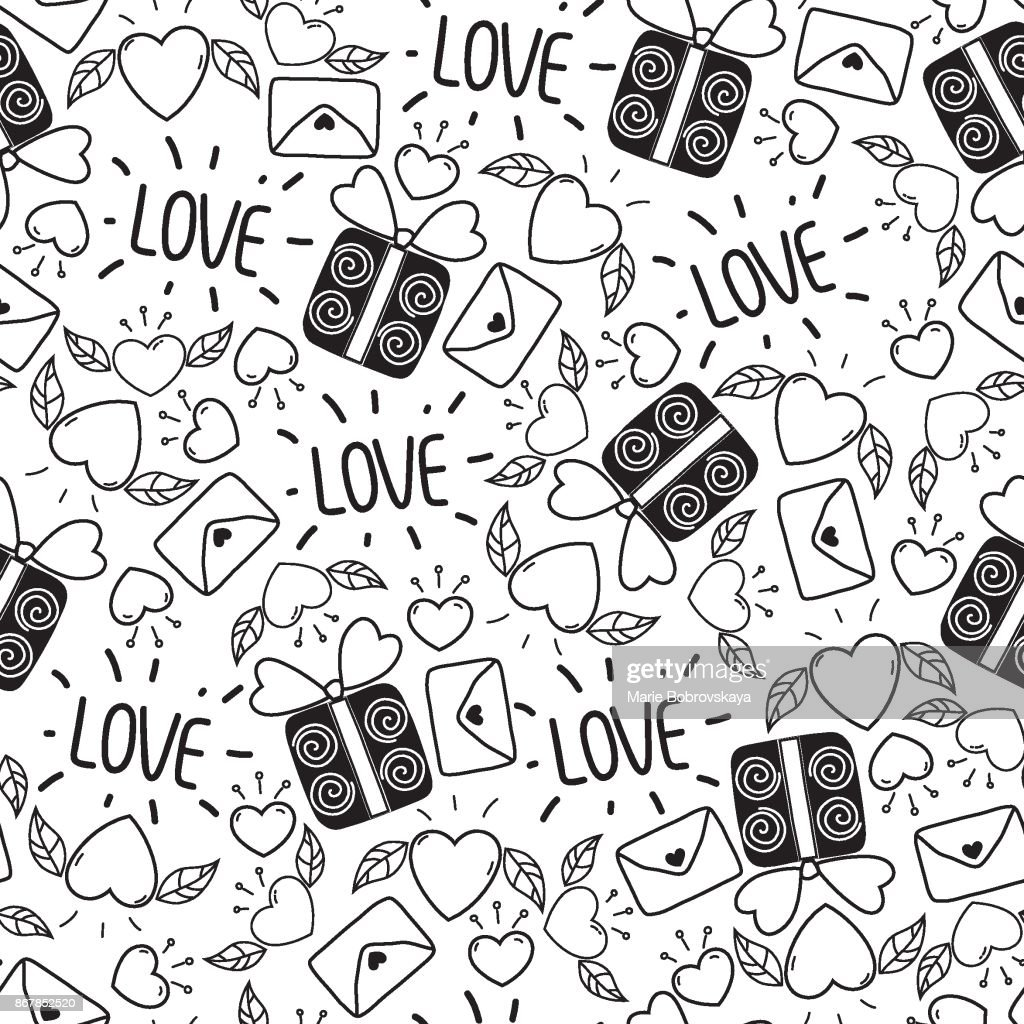 Doodle seamless Valentine's day pattern isolated on white background. Vector elements: hearts,leaves,cherry,envelopes,gifts and lettering.