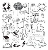 Doodle set - ecoeco, vector illustration.
