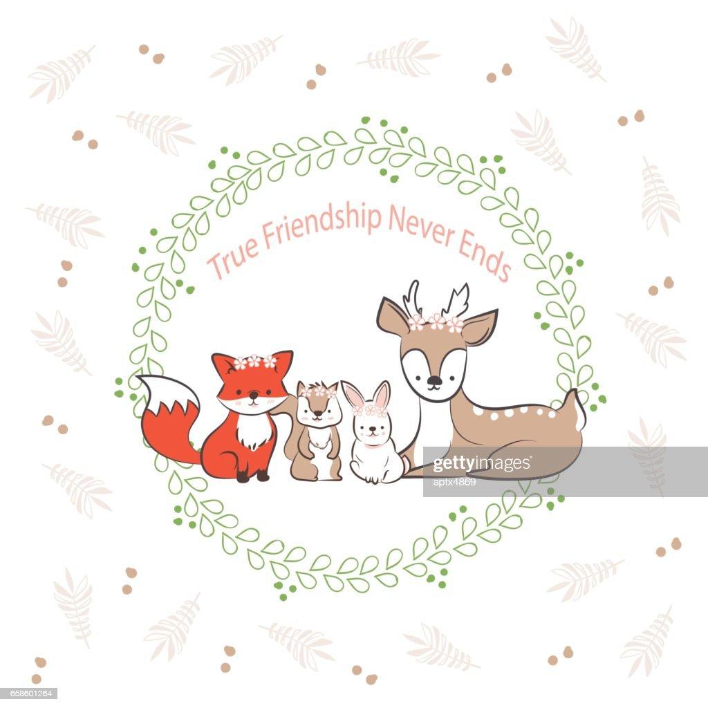 Doodle Satz Von Besten Freunden Niedlichen Kaninchen Fuchs ...