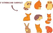 Doodle set of cute cartoon colored animals with squirrel, fox, lynx, raccoon, hedgehog, bear, deer, owl and rabbit. Cute forest animal set.