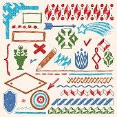 Doodle set of design elements 2. Vector illustration. Color.